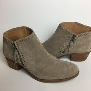 LUCKY BRAND BENNA STUDDED BOOTIES WITH ZIPPER